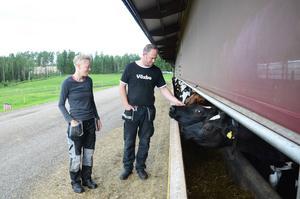 Maria Bruhn, anställd på lantbruket, och ägaren Per-Åke Perers på gården i Växbo.