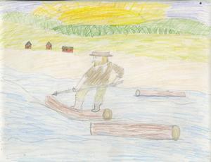 Flottare Bollnäs. Josefin Larsson, var 12 år och gick Kilbergsskolan i Bollnäs 1996 när hon gjorde denna teckning.