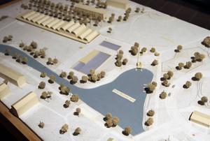 Gösta Åberghs förslag till badhus (överst t v) ingick en konstgjord sjö.