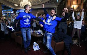 Det firades i Leicester efter att ligatiteln säkrats.