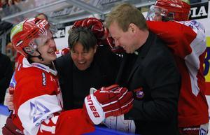 Max Friberg, Ante Karlsson och Henrik Stridh i Timrå IK för ett par säsonger sedan. Foto: Arkiv.