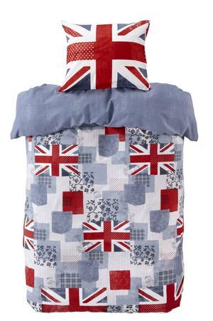 Brittiskt inbäddad. Påslakansetet i bomull kallas Jack och finns på Ellos.