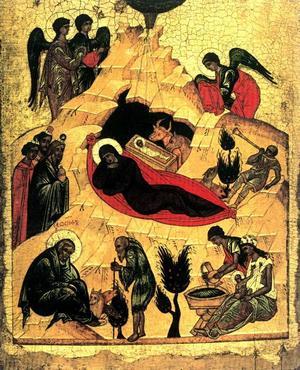 Kristi födelse, Novgorodskolan, 1400-talet. cirka 43,2 x 53,5 centimeter.