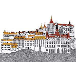 Linnéa Olssons teckning av Mariaberget på Södermalm.