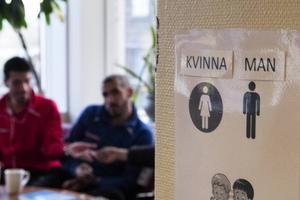 Lappar med svenska ord är utplacerade vid olika föremål på asylboendet.
