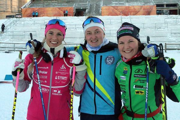 Ingela Andersson, Emma Nilsson och Johanna Skottheim var topptrion av svenskorna i söndagens tävling.