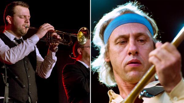 Vänster: Jonne Bentlöv. Höger: Gitarristen Mark Knopfler i Dire Straits under en konsert på Stockholms Stadion 1 augusti 1992. Bild: Tobias Röstlund/TT