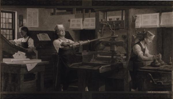 Benjamin Franklin vid tryckpressen. Målning av Charles E. Mill från 1914.