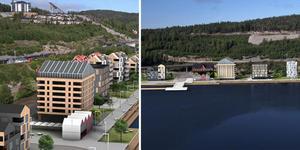 Så här ser kommunens idé för Varvskajen ut. Skiss: Nils Bjuggstam/Loveframe/Arctic Factory.