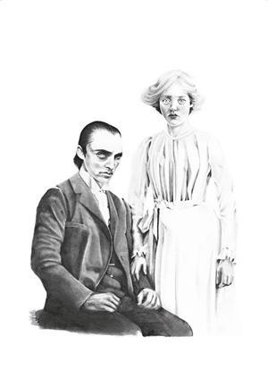 Victor Frankenstein och hans trolovade Elisabeth. Ilustration: Elin Sandström