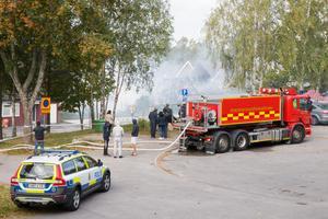 Från radhusbranden på Varnbäcksvägen i Hovsjö den 23 september i år.