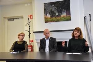 Från vänster, Ingrid Zakrisson, Olof Wallgren och Karin Jonsson, svarar Livskraft i Offerdal om vindkraften.