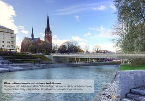 En skiss som visar hur nya Storbron kommer att se ut när den är klar nästa höst. Skiss: Sundsvalls kommun