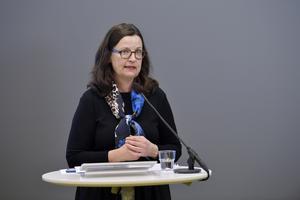 Utbildningsminister Anna Ekström  har en digital pressträff idag klockan 11 om en ny rekommendation för barn och elever i för- och grundskolan, med anledning av covid-19.  Foto: Anders Wiklund / TT