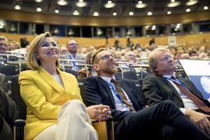 Partiledaren Ebba Busch Thor, förste vice partiordförande Jakob Forssmed och andre vice partiordförande Lars Adaktusson vid Kristdemokraternas kommundagar i Örebro i vintras.