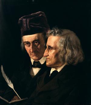Bröderna Jacob och Wilhelm Grimm samlade gamla folkberättelser från Tyskland och fann en viktig distinktion mellan sagor och sägner. Målning av Elisabeth Jerichau-Baumann från 1855.