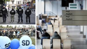Vad händer om SD eller NMR inte kommer till makten? Ska deras bidragstagande anhängare då säga upp sitt medborgarskap för att sedan söka asyl? funderar skribenten. Bild: Pontus Lundahl/TT / Claudio Bresciani/TT / Marcus Ericsson/TT