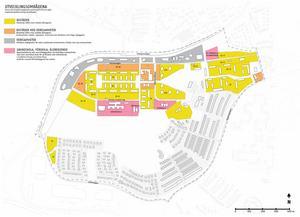 Kartan visar var det är lämpligt att förtäta med fler bostäder, utveckla eller skapa nya verksamheter samt var det skulle kunna byggas en ny förskola och/eller ett nytt äldreboende. Karta: Södertälje kommun.
