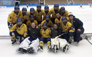 Sveriges trupp, som på fredagen tog guld i Universiaden, vid ett tidigare tillfälle. Bild: Örjan Stål.