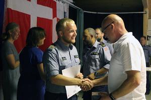 Dansk räddningstjänst avtackades med en avskedsmiddag arrangerad av MSB (Pressbild Länsstyrelsen Gävleborg).