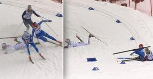 Emma Ribom går in offensivt i kurvan, tappar balansen och får med sig både Anna Dyvik och Frida Hallquist i fallet. Bild: SVT.
