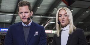 Fredrik Warg gästar Hockeypuls podcast. Här syns han med Ida Björnstad. Foto: Kenta Jönsson/Bildbyrå.