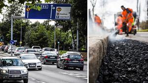 Insändarskribenterna tackar asfaltsläggarna för väl utfört arbete på Bergsgatan och Fridhemsgatan. Bilder: Pontus Hellsén / Ludwig Arnlund