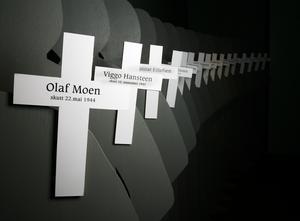 En installation med namn på personer som avrättades under den tyska ockupationen av Norge, på order av Vidkun Quisling. Det är faktiskt inte mer än 70 år sedan vårt grannland ockuperades.