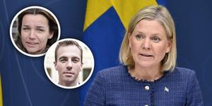 Anna-Caren Sätherberg, Kalle Olsson och Magdalena Andersson.
