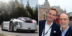 Självkörande bilar, som Volvos förarlösa modell Vera, hör framtiden till, enligt Henrik Holmberg och Gunnar Tornmalm. Foto: Volvo Lastvagnar