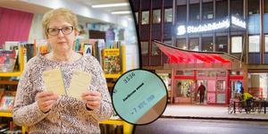 Susanne Harris berättar att den försenade boken kom biblioteket med posten.