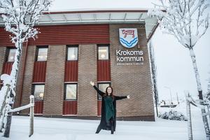 Så här svarar Malin Bergman på frågan om det kommer stå en ny sporthall i Änge innan mandatperioden är slut: