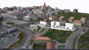 Foto: Skärmklipp falun.seOm den nya detaljplanen antas så medger den möjlighet till tre nya bostadshus i anslutning till Parkgatan.