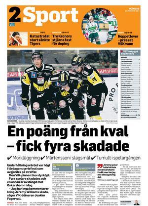 VLT:s förstasida dagen efter VIK-Malmö den 22 februari 2014.
