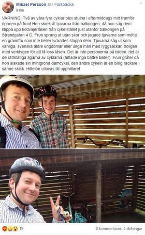 Det här Facebook-inlägget lade Ingrids särbo Mikael ut när cyklarna hade försvunnit. Det ledde till att i alla fall en av dem hittades.