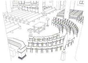 Skissen visar hur det nya altarbordet är tänkt att placeras.