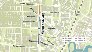 Kartan visar de olika etapperna när vattenledningarna under Hertig karls allé byts ut.