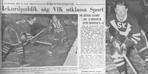 Ur VLT 13 januari 1954. Till vänster: Lasse Pettersson. Foto: VLT:s arkiv