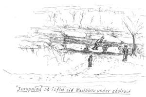 Farliga skolraster på Rastälvens is. Illustration: Arne E Erikson