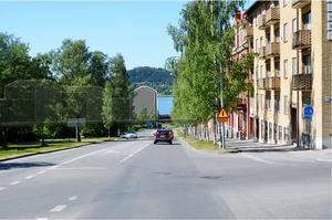 Flytten av ett kvarter nere till vänster öppnar för utsikt mot Storsjön och Frösön från Gränsgatan.  Illustration ur detaljplanen.