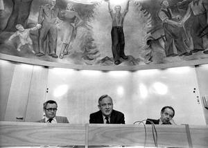 Rudolf Meidner presenterar sina löntagarfonder 1978. Foto: Gunnar Lundmark/SCANPIX