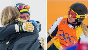 Sandra Näslund stöttas av landslagskamraten Lisa Andersson efter medaljmissen. Bild: Bildbyrån.
