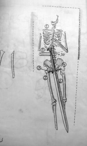 Ett unikt medeltida svärd påträffades i Svante Nilsson Stures grav i Västerås domkyrka vid utgrävningen 1958. Svante Nilsson dog 1512. Svärdet togs bort från graven, konserverades och är utställt i Domkyrkans skattkammare. Teckning av Carl-Filip Mannerstråle 1958.