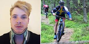 SM-vinnaren Edvin Lindh med nackkrage efter den svåra kraschen där hjälmen sprack i två delar.