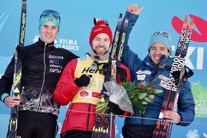 Andreas Holmberg till vänster i bild. Foto: Ski Classics