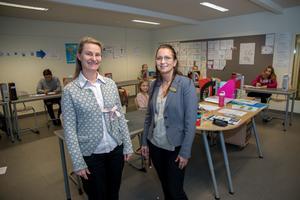 Lärarna Ingrid Gustafsson och Paulina Hiltunen är inte förvånade att Surahammars lärare håller sig friska.