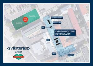 Karta över musikhjälpen området med glasburen och publiken på Stora torget och en evenemangsyta på Torggatan och Sigmatorget.