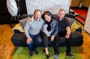 Patrik Frisk, Pernilla Berg och Tommy Gustafsson ser fram emot en fest med musik som tema.