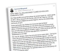 I Karl-Erik Wångstedts öppna brev ifrågasätter han om bandyklubben och dess supporterförening sanktionerar våld.