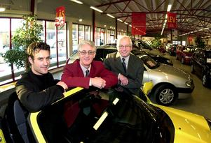 Patrik Persson, Leif Persson och försäljningschefen Åke Persson på en bild från starten 2001. Bild: Thord Eriksson